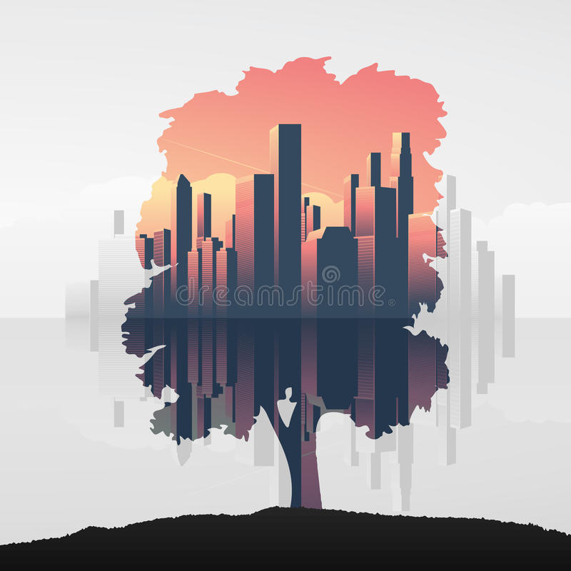 Tree and urban business skyline double exposure vector illustration background. Symbol of environment, nature, ecology. vector illustration