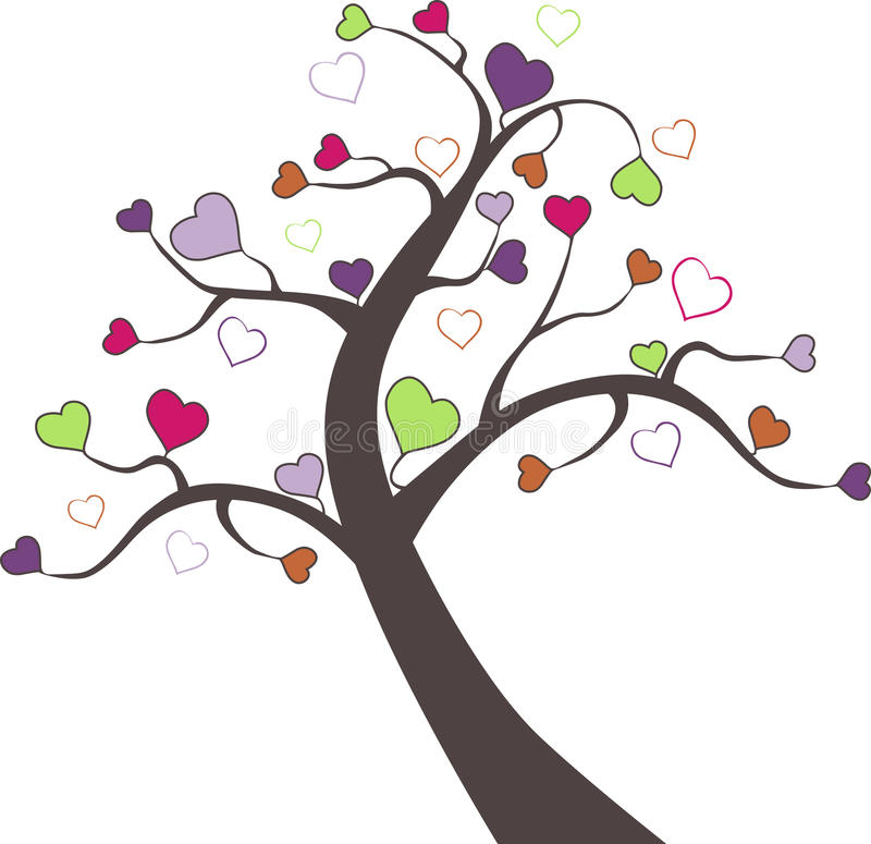Tree and Valentine hearts in Vector stock image