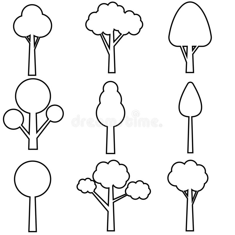 Tree vector icon set. Trees collection. Icons of green plants, forest. Trees illustrations. royalty free illustration
