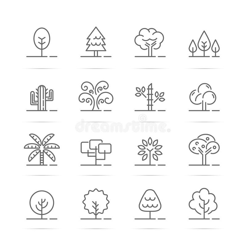 Tree vector line icons royalty free illustration
