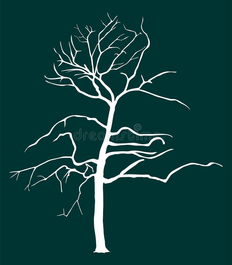 Tree vector silhouette illustration isolated on green background. royalty free illustration