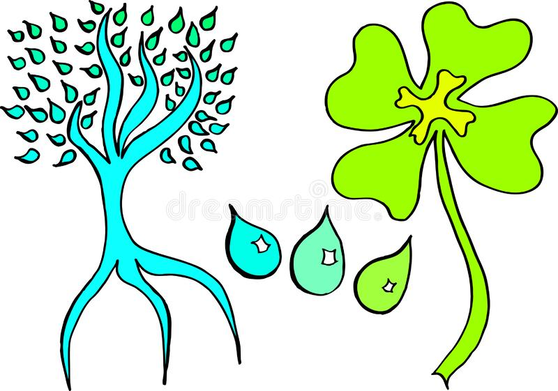 Tree from water drops and four leaf clover in green turquoise and yellow colors also available as a vector drawing vector illustration