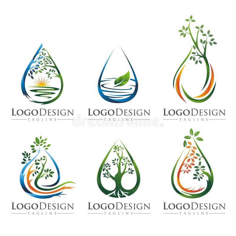 Free TREE WATER LOGO VECTOR SET 2 Royalty Free Stock Images - 66465889