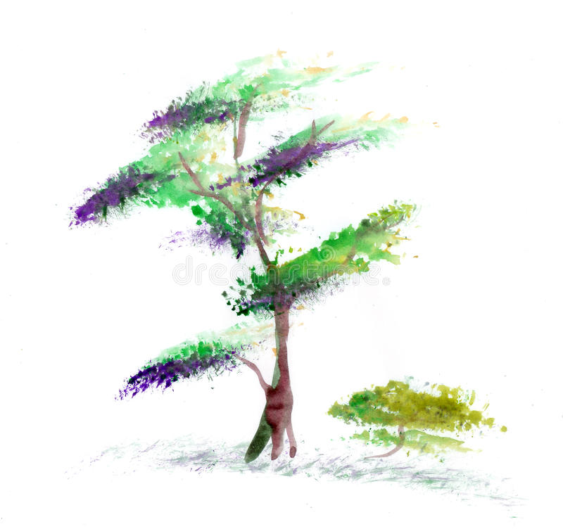 Download Tree on a white background stock illustration. Illustration of meadow - 15632488