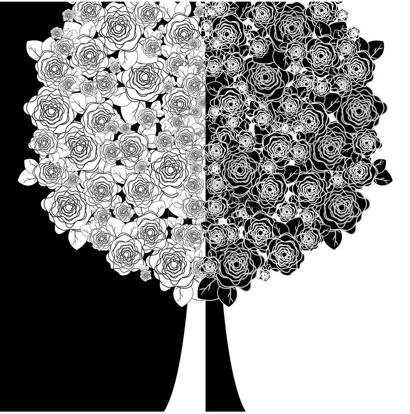 Tree with white and black flowers