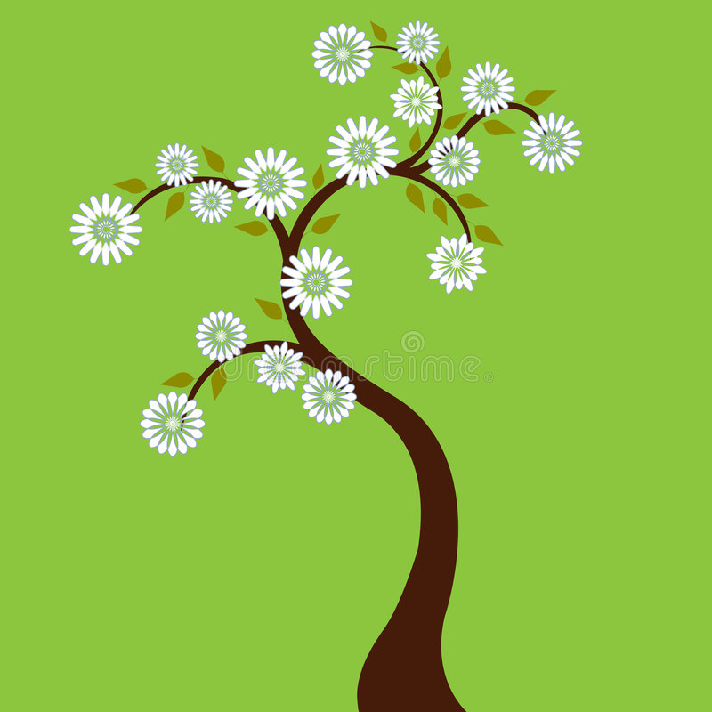 Tree with White Flowers royalty free illustration