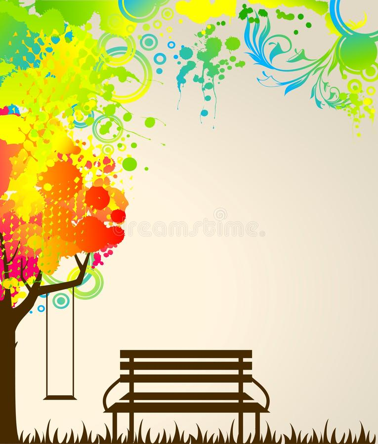 Free Tree With Bench And Swing. Stock Photos - 15457133