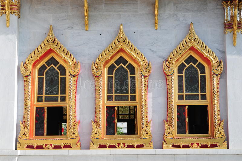 Tree Wonderful Windows in Thailand Temple stock images