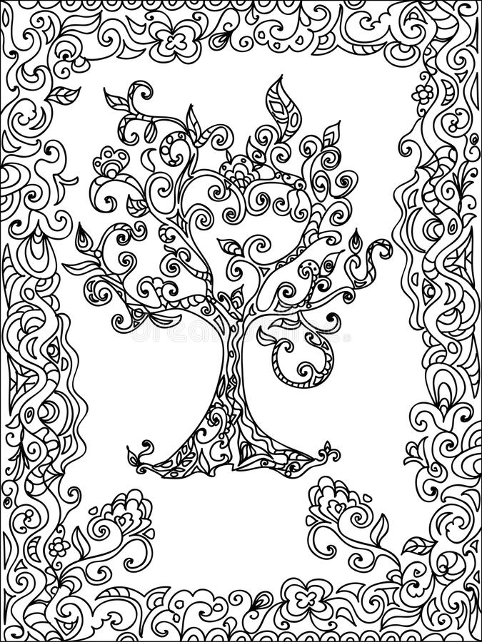 download tree zentangle coloring page stock illustration image 54883215 - Zentangle Coloring Pages