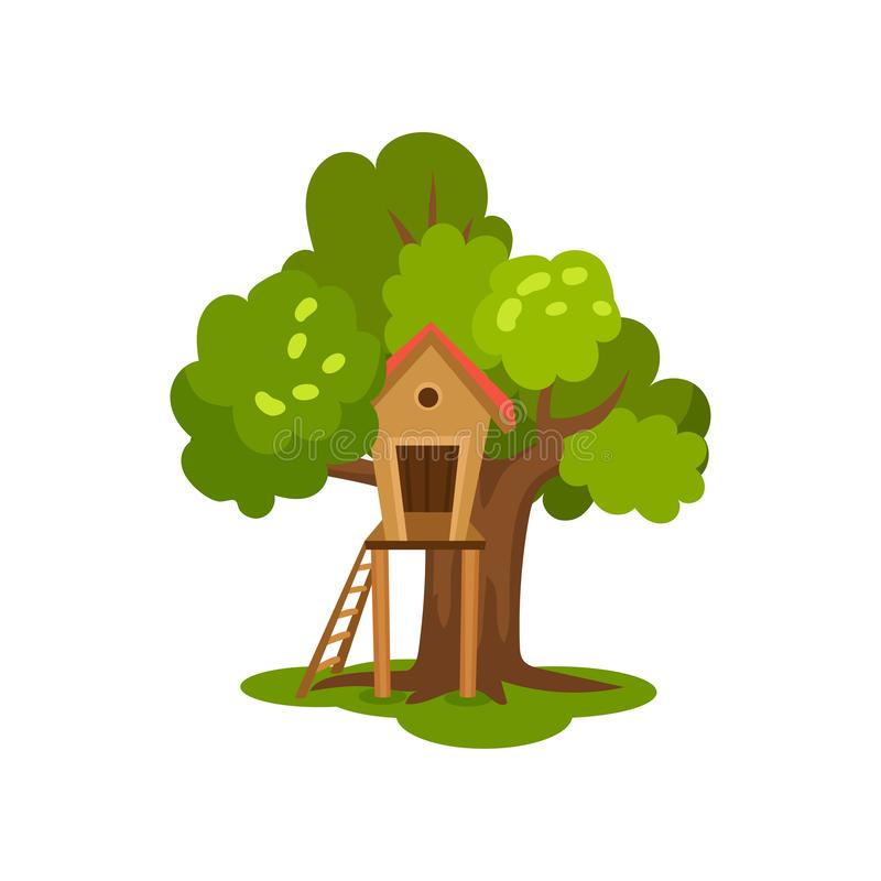 Free Treehouse, Wooden Hut On Tree With Ladder For Kids Outdoor Activity Vector Illustration On A White Background Stock Photography - 125929512