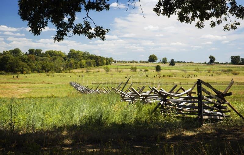 Treeline al campo di battaglia Pensilvania di Gettysburg dei campi immagini stock