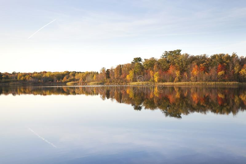 Treeline på den lugna norra sjön Minnesota vid solnedgången under hösten royaltyfri fotografi
