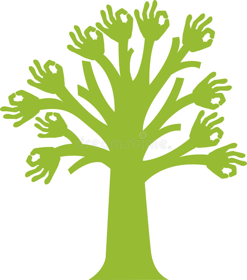 Treelogo stock illustrationer