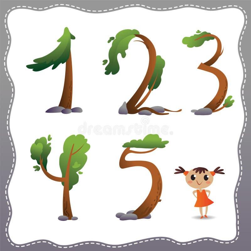 Treen numrerar på vitbakgrund. royaltyfri illustrationer