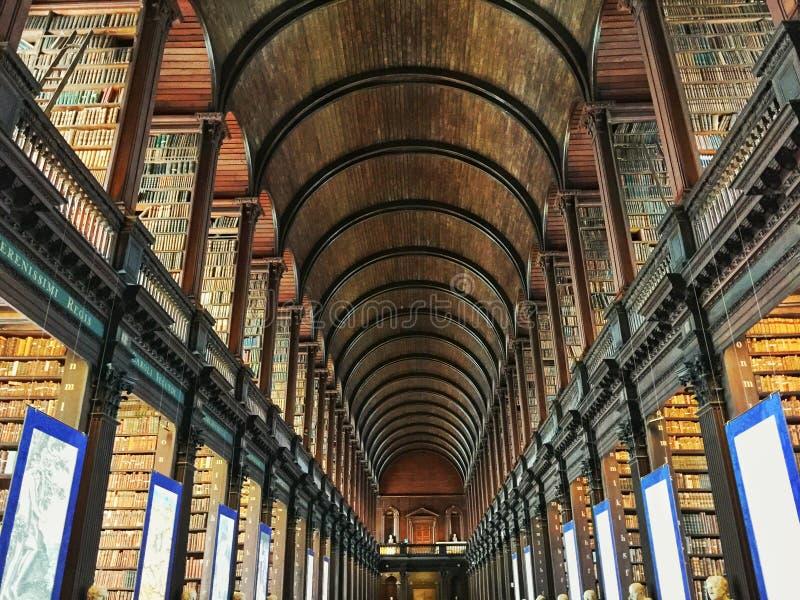 Treenighethögskolaarkiv Dublin Ireland fotografering för bildbyråer