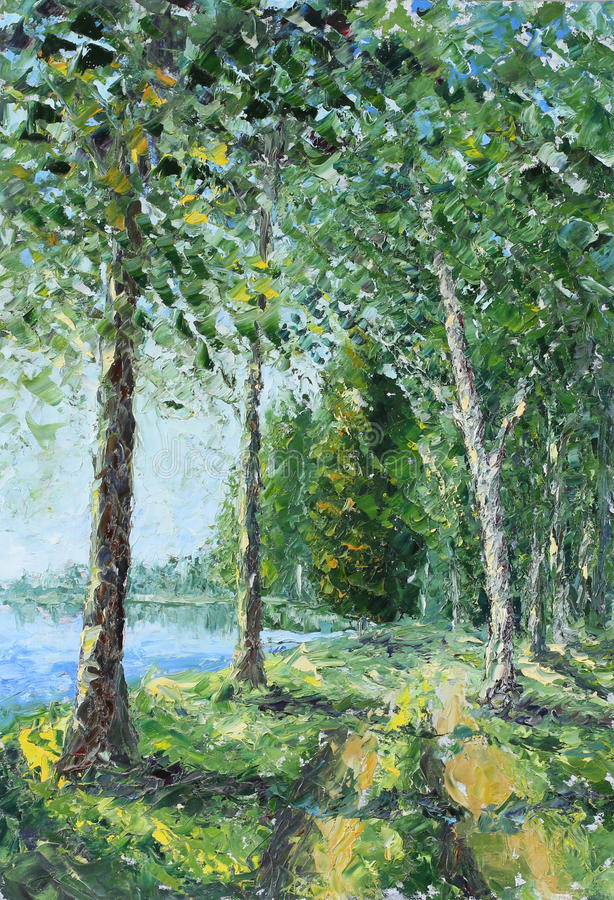 Trees along the lake in the woods. Original oil painting trees along the lake in the woods on canvas. Impasto artwork. Impressionism art stock illustration