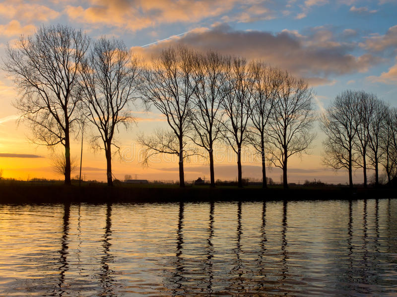 Download Trees Along A Wide Waterway Royalty Free Stock Image - Image: 26935716