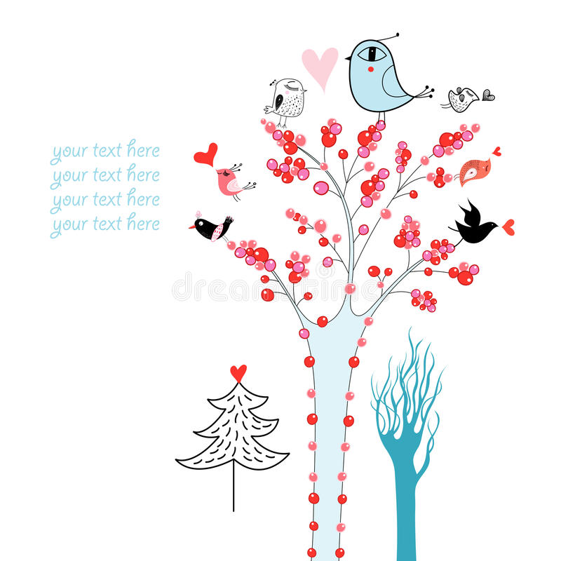 Download Trees and birds stock vector. Illustration of graphics - 24547638