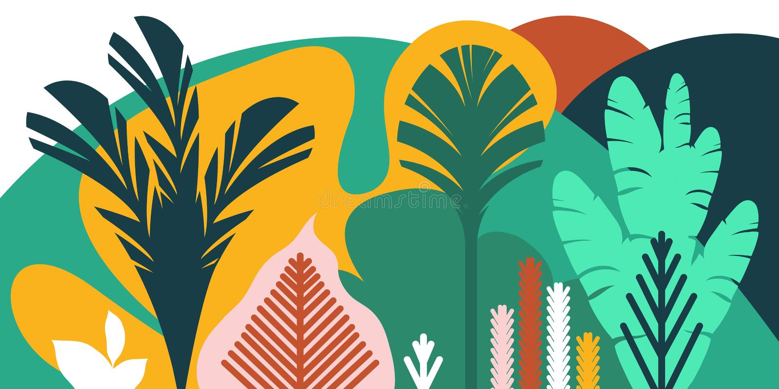 Trees are broad-leaved tropical, ferns. Flat style. Preservation of the environment, forests. Park, outdoor. vector illustration