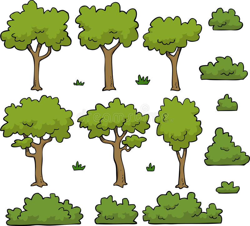 Trees and bushes. Cartoon doodle set trees and bushes illustration royalty free illustration