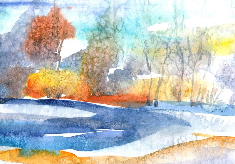 Trees and bushes in the morning mist over the summer lake. Watercolor landscape. vector illustration