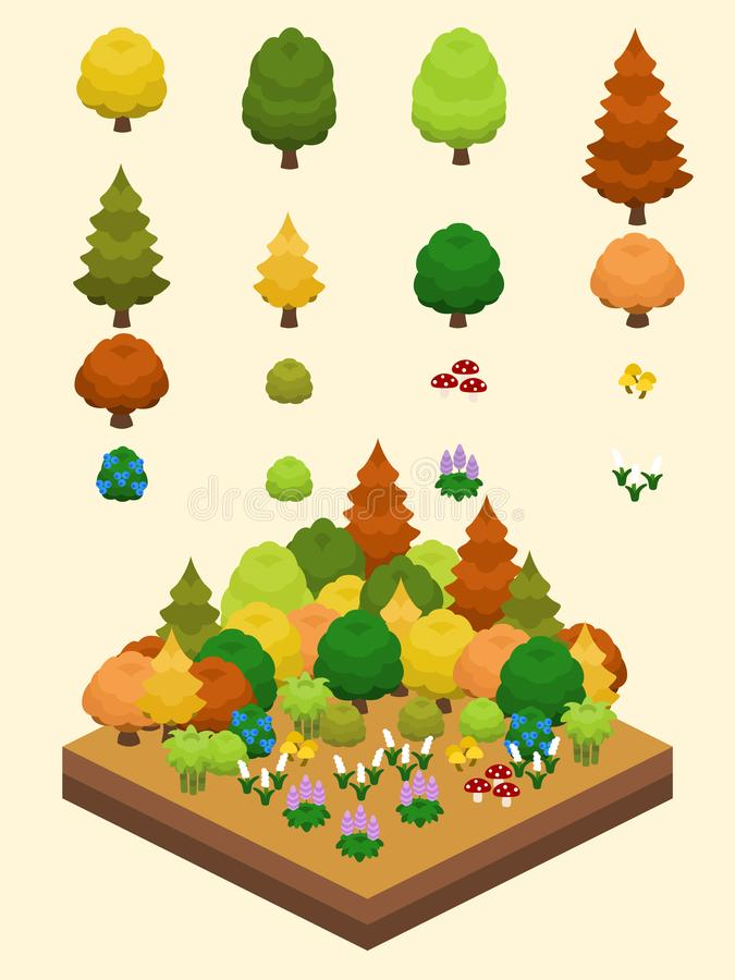 Isometric Simple Plants Set - Temperate Forest Biome royalty free illustration
