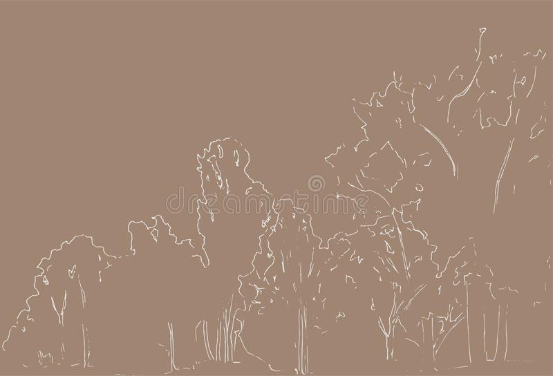 Trees and bushes sketch. Landscape linear drawing. Hand drawn illustration. Forest on beige background. Wild nature. vector illustration