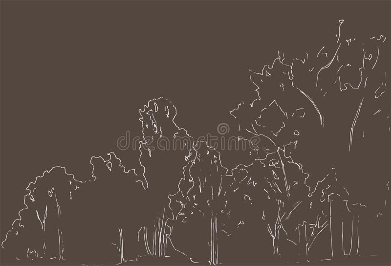 Trees and bushes sketch. Landscape linear drawing. Hand drawn illustration. Forest on white background. Black Line style design. vector illustration