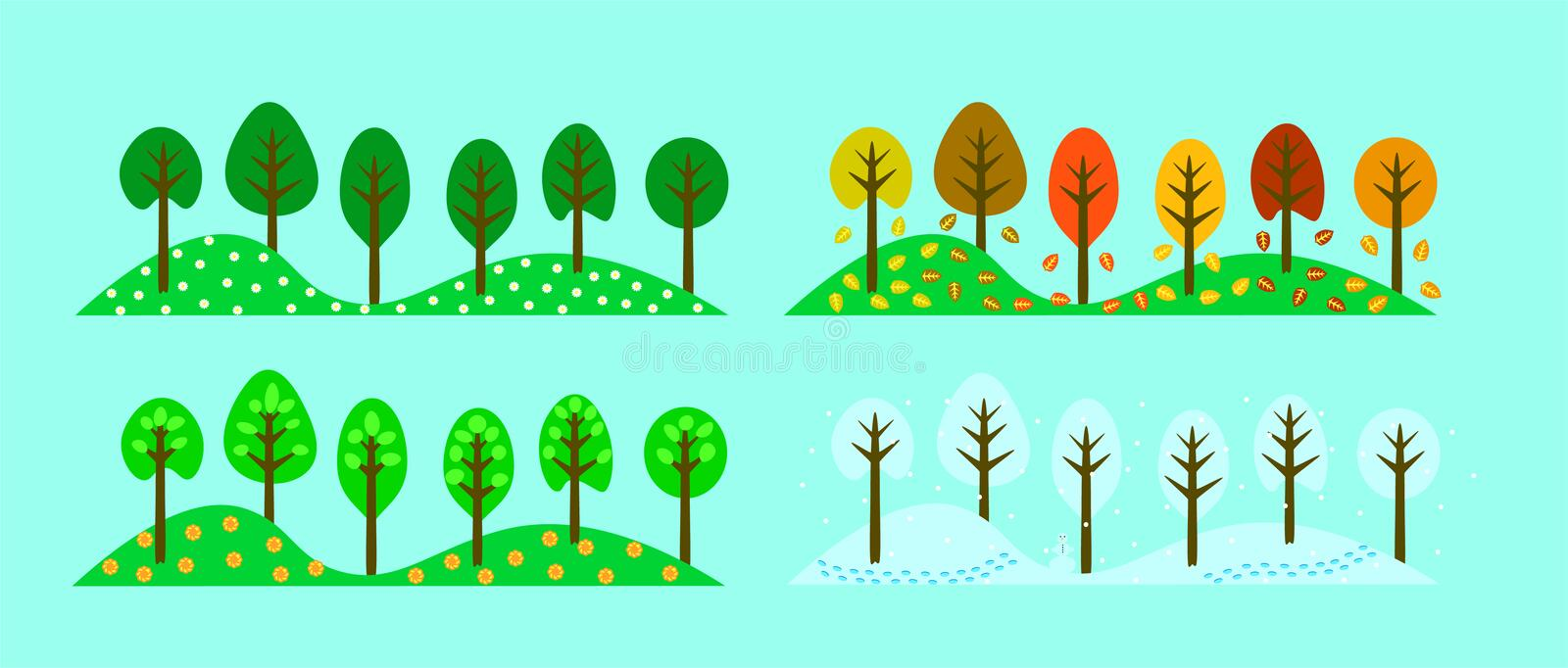 Trees in the Change of Four Seasons royalty free illustration