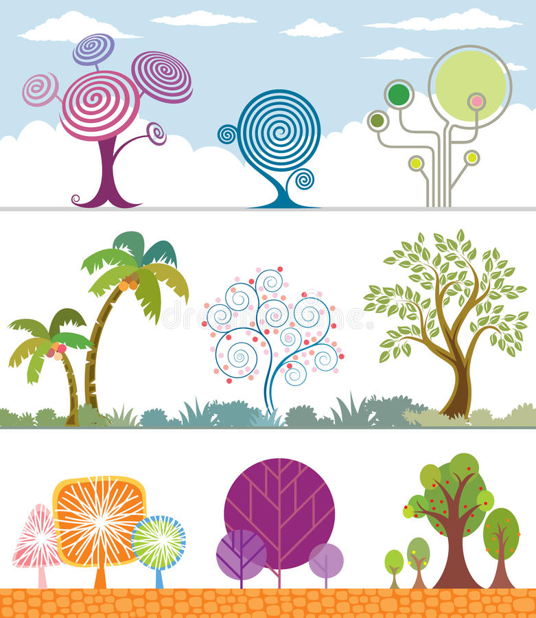Trees Collection. Different shape of Trees Collection. Vector Layered stock illustration