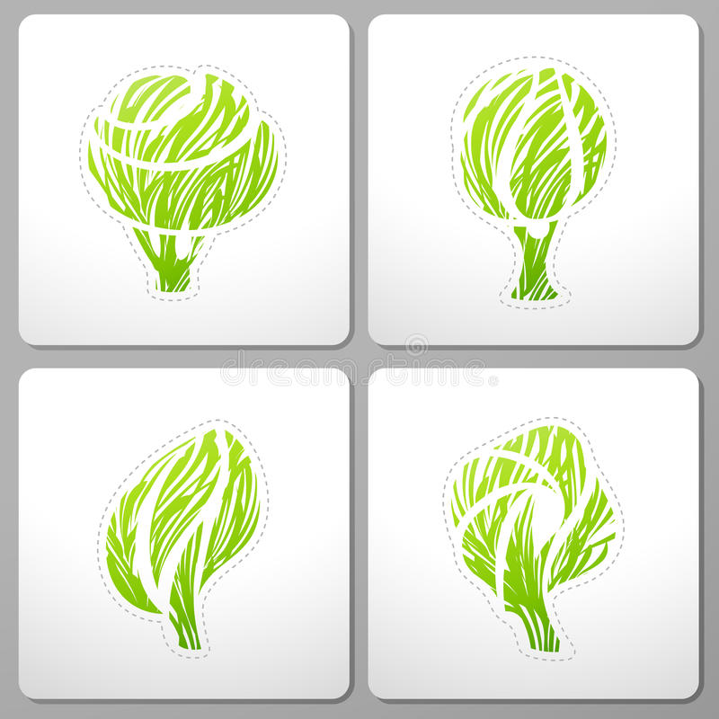Trees. Collection of design elements. vector illustration