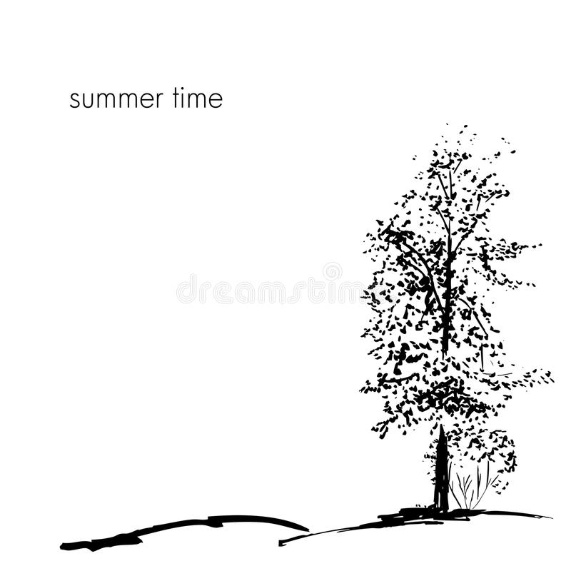 Trees collection. Ink trees silhouettes royalty free illustration