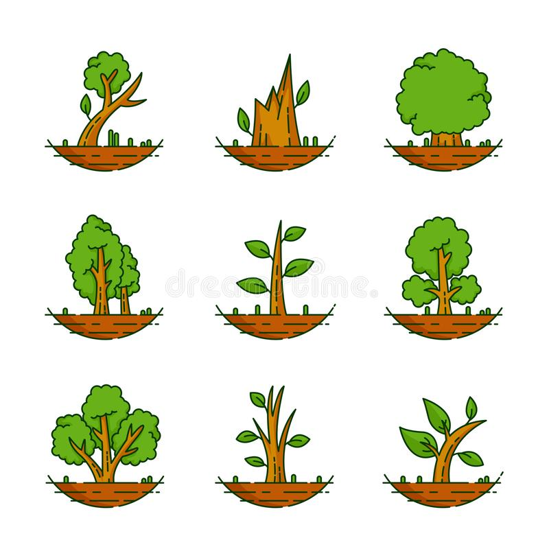 Tree, Plant, Forest, Nature, Botanical Illustration, Trees Collection royalty free stock photos