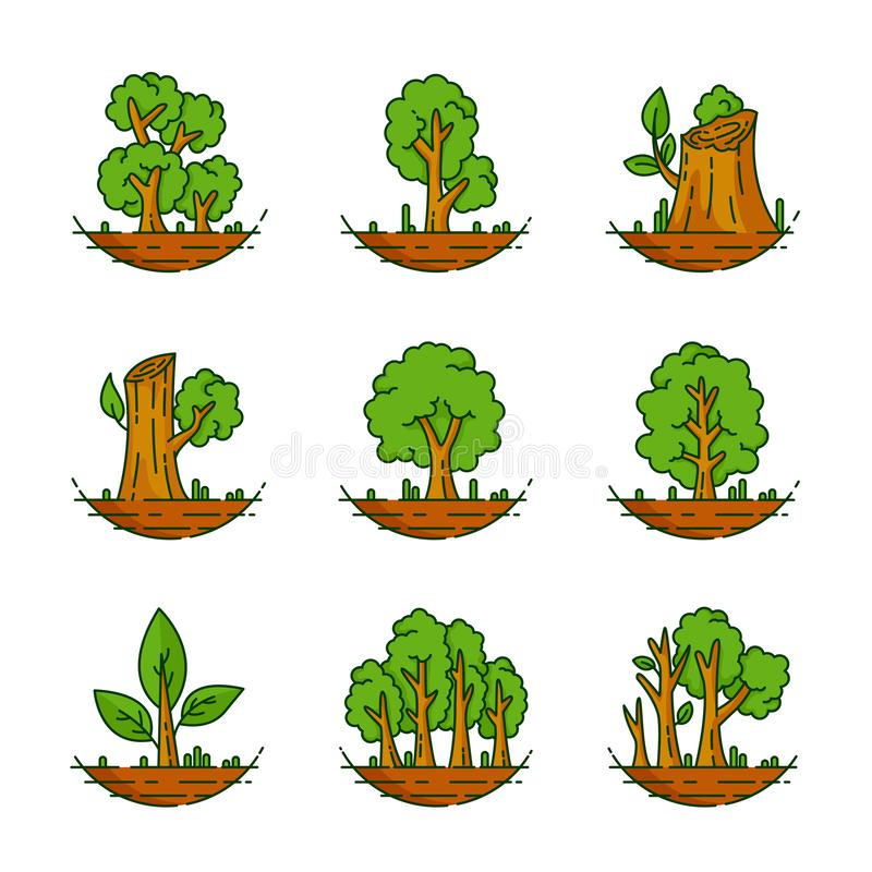 Tree, Plant, Forest, Nature, Botanical Illustration, Trees Collection. There are nine vector illustration of trees, Tree, Plant, Forest, Nature, Botanical vector illustration