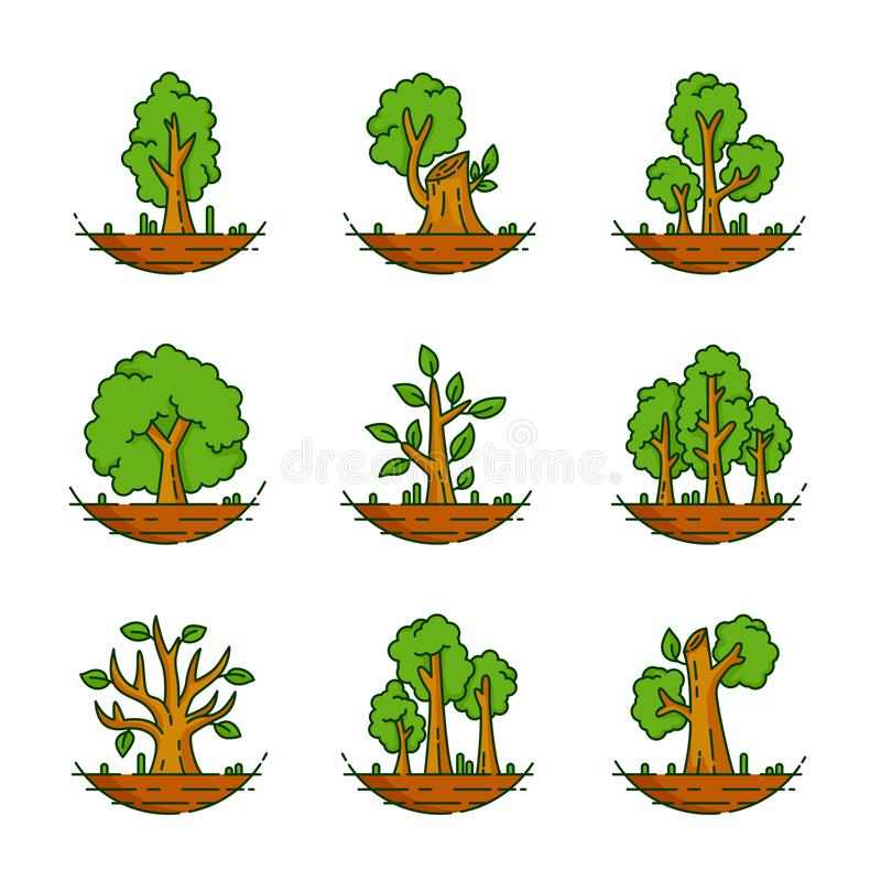 Tree, Plant, Forest, Nature, Botanical Illustration, Trees Collection. There are nine vector illustration of trees, Tree, Plant, Forest, Nature, Botanical royalty free illustration