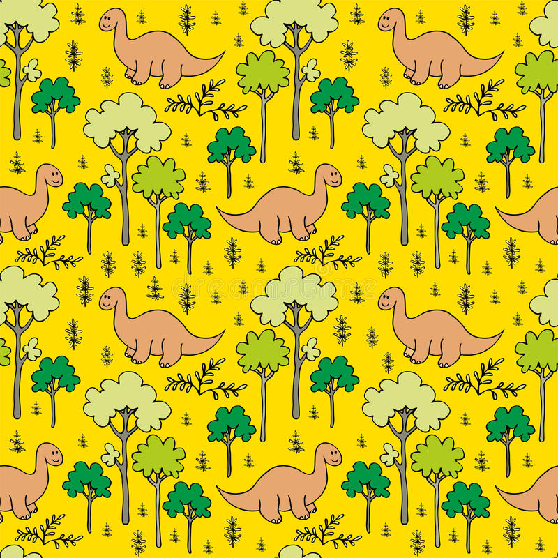 Trees and dinosaurs. Childrens colorful seamless pattern with the image of funny dinosaurs royalty free illustration