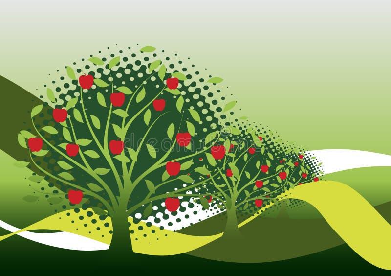 trees för leaves en för äpple oisolerade fulla stock illustrationer