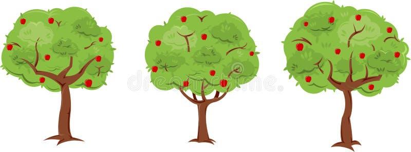 trees för leaves en för äpple oisolerade fulla vektor illustrationer