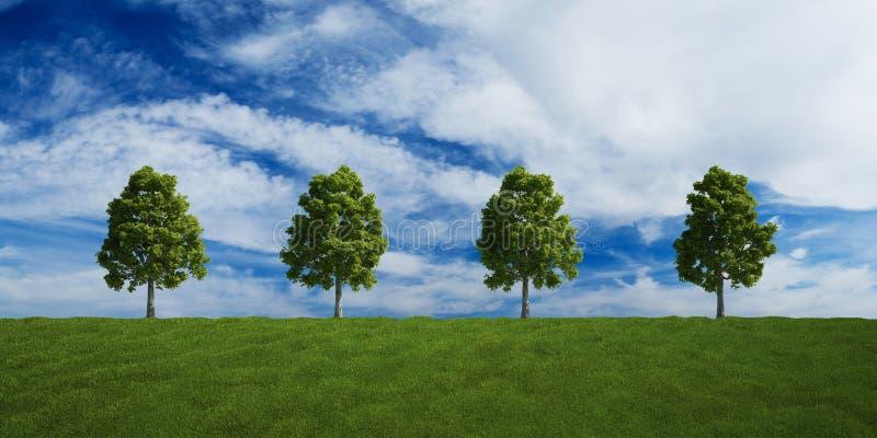 trees för oklarhetsradsommar royaltyfri illustrationer