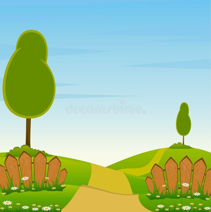 trees för staketliggandeväg stock illustrationer