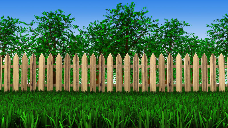 Download Trees and fence on field stock illustration. Image of rural - 30978646