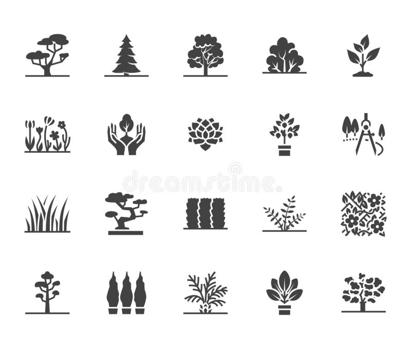 Trees flat glyph icons set. Plants, landscape design, fir tree, succulent, privacy shrub, lawn grass, flowers vector. Illustrations. Signs for garden store vector illustration