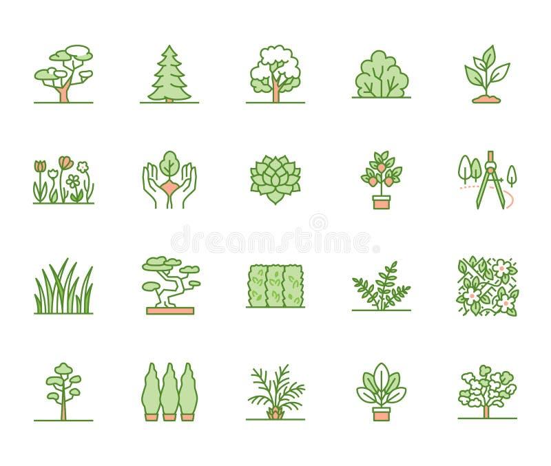 Trees flat line icons set. Plants, landscape design, fir tree, succulent, privacy shrub, lawn grass, flowers vector vector illustration