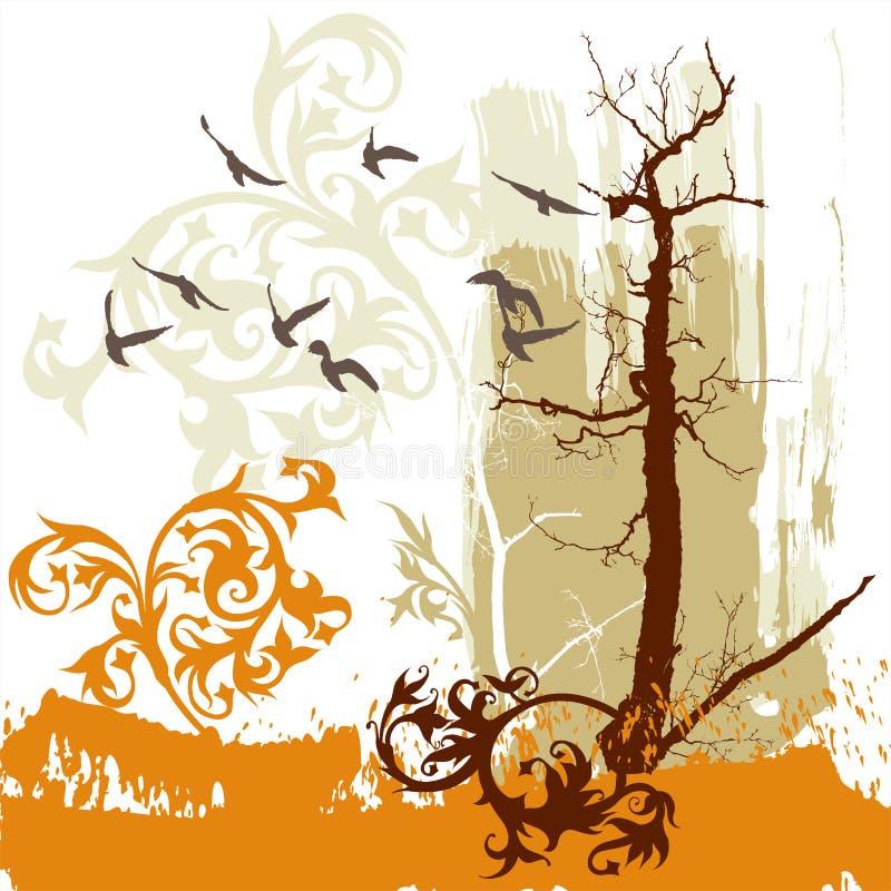 Trees, flower, flying birds royalty free illustration