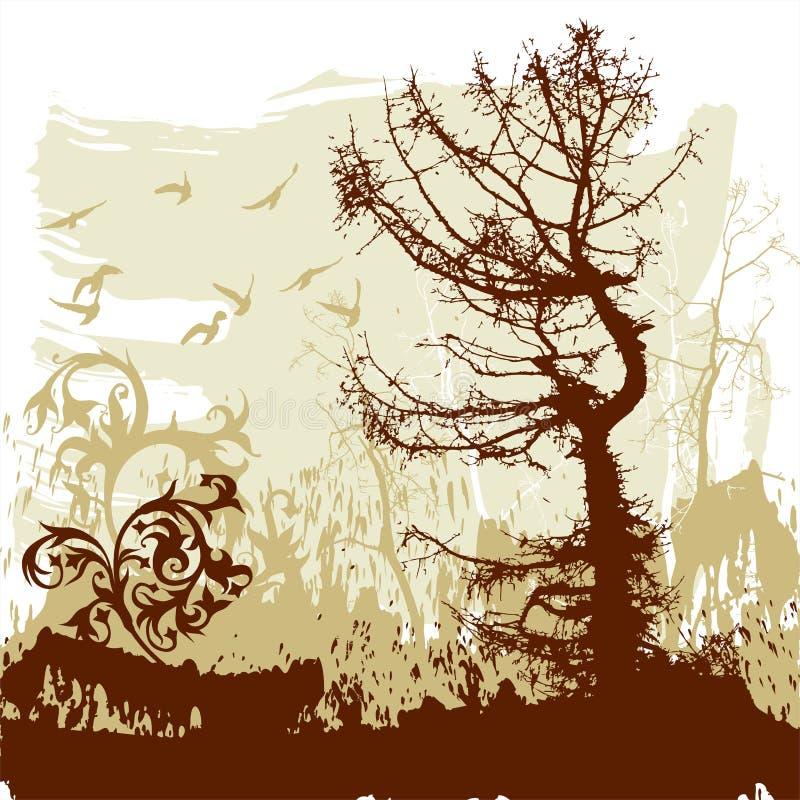 Trees, flower, flying birds vector illustration