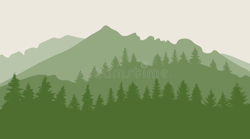 Trees forest on mountainous terrain silhouette. Vector illustration.  royalty free illustration