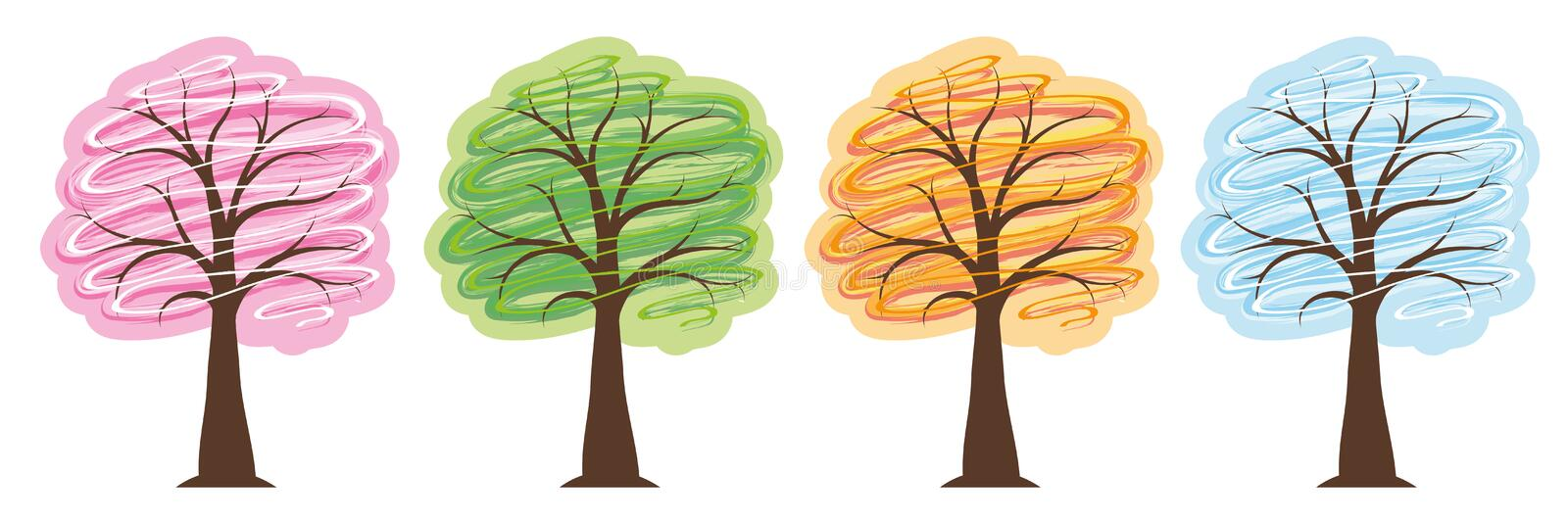 Trees four seasons in bright colors spring summer autumn winter royalty free illustration