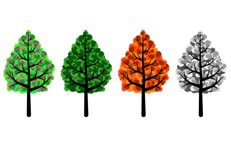 Trees of Four Seasons. Spring, summer, autumn and winter trees. PNG format available where the background is transparent vector illustration
