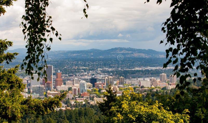 Portland Oregon skyline in late spring. stock photography