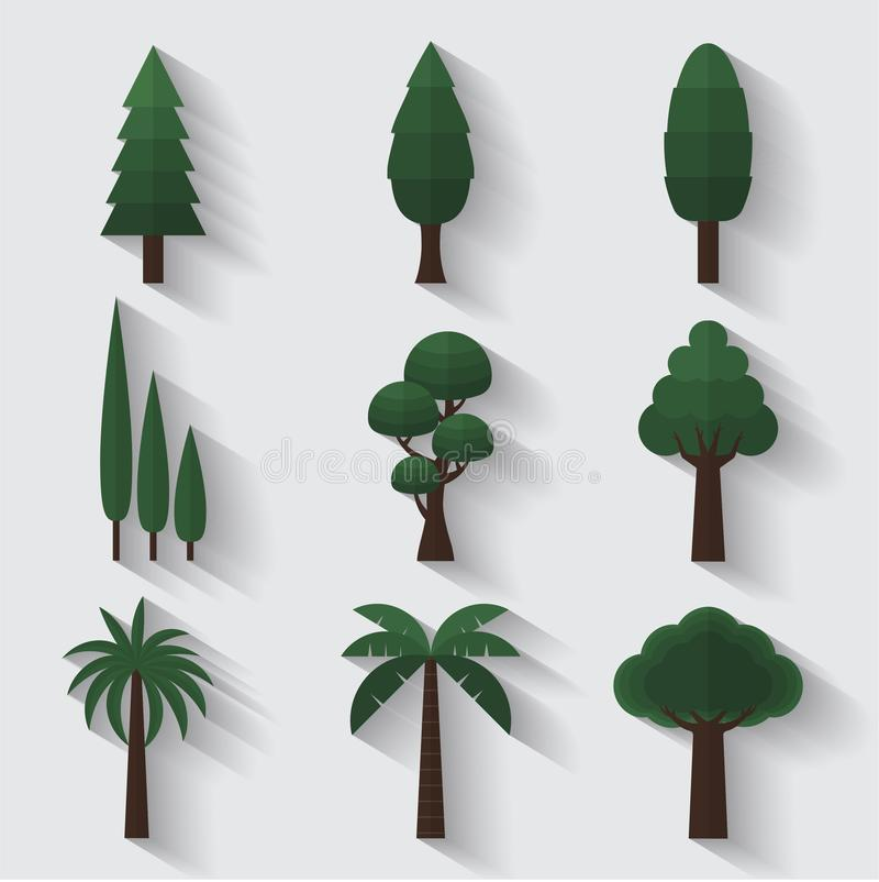 Trees garden tree plants decoration icons flat design vector illustration